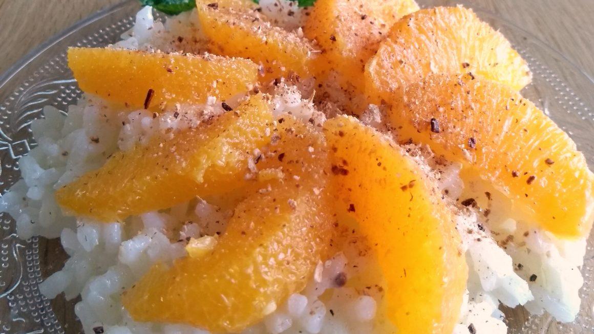 Milchreis mit filetierten Orangen
